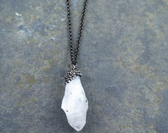 Quartz Pendant, Crystal Necklace, Quartz Necklace, Pave Pendant, Gunmetal Chain, Gift for Her