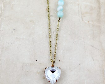 Vintage Rhinestone Heart Necklace, Amazonite Necklace, Blue Beaded Necklace, Mother's Day Gift, Heart Jewelry