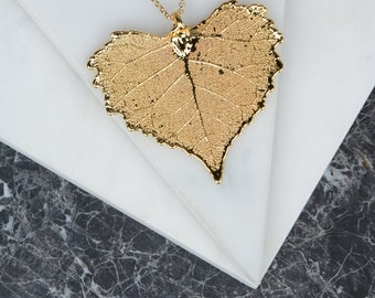 Dipped Gold Cottonwood Large Leaf Pendant Necklace, Gold Heart Leaf Jewelry, Nature Jewelry, Extra Long Necklace Chain, Leaf Necklace Copper