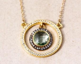 Gold Teal Quartz Necklace - Teal Quartz and Pave White topaz - Gold Filled, Teal Green Quartz