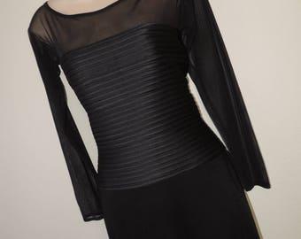 tadashi body con bandage dress 80s black mesh illusion bodice little black dress medium