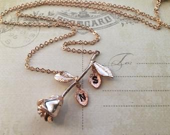 Easter Rose Necklace - Rose Gold Flower Necklace, Personalized Flower Necklace, Rose Flower Necklace,Easter Necklace