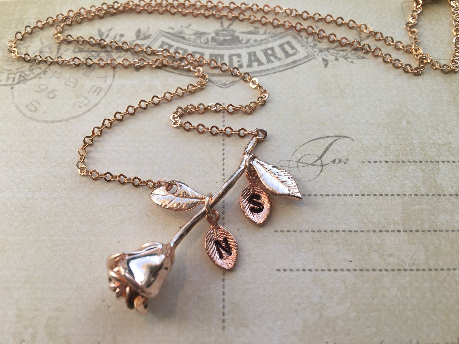 Rose necklace silver rose necklace personalized mothers for Rose gold personalized jewelry