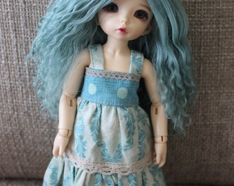 Lovely Light Teal mohair wig for Littlefee / other YoSD sized / Unoa / Enyo doll