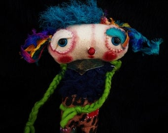 Blue - a whimsical ratty tatty monster art doll