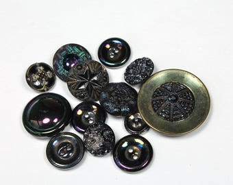 Lot Vintage Black Glass Buttons Iridescent Buttons Victorian Edwardian Collectible Button Lot of 13