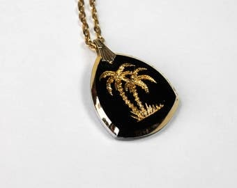 Vintage Etched Glass Pendant Palm Trees Gold & Black Pendant with Chain Beach Necklace 1980s