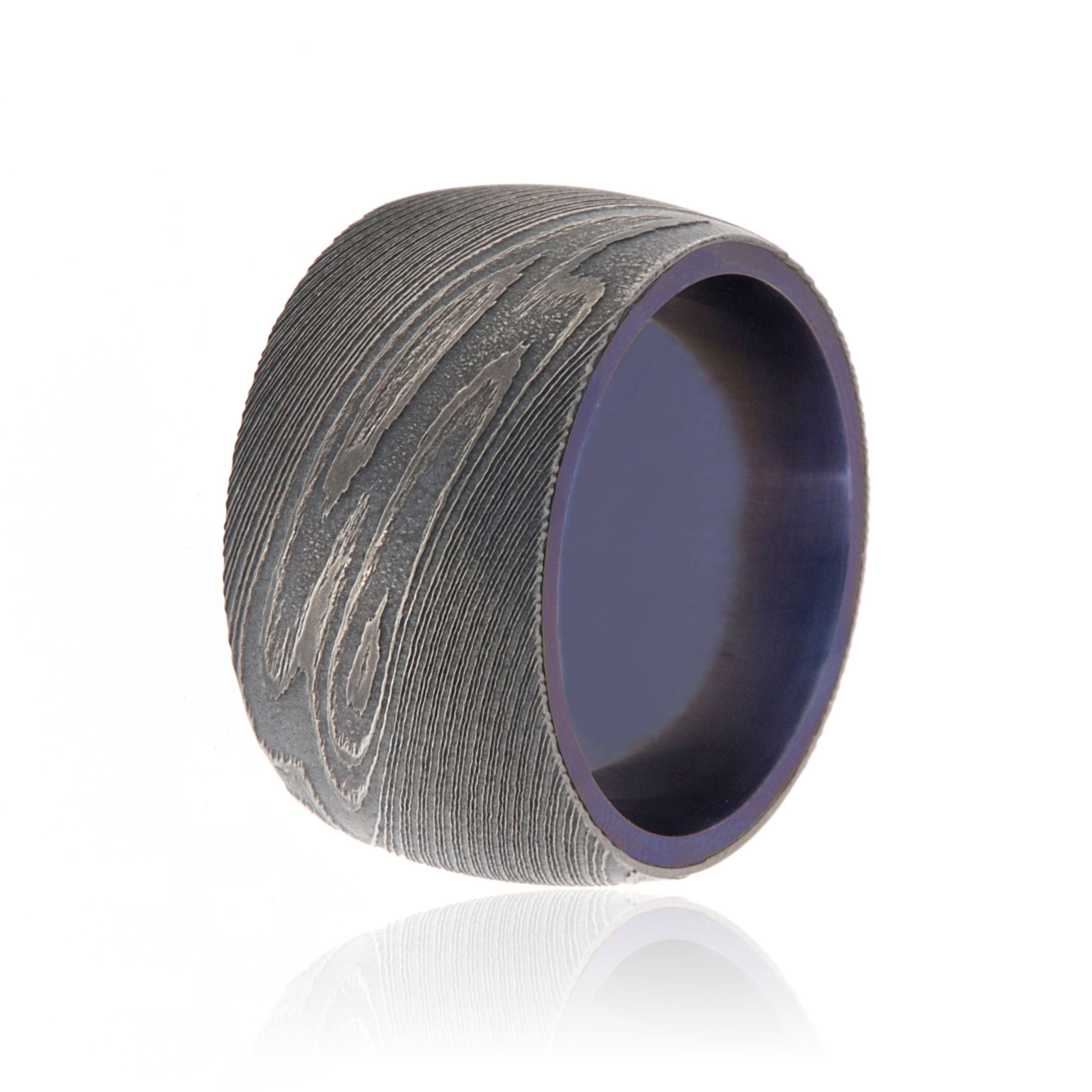 Mens Damascus Steel Wedding Band 12mm Wide Custom Ring