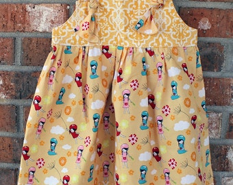 Yellow and White Sweet Dandelion Girl's Tie Dress Size 2T Ready to Ship