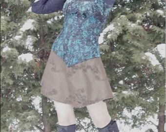 Dress - Steampunk - Burning Man - Bohemian - Playa Wear - Turquoise Velvet - Crushed Velvet - Bohemian Gypsy - Sexy - Size X- Small