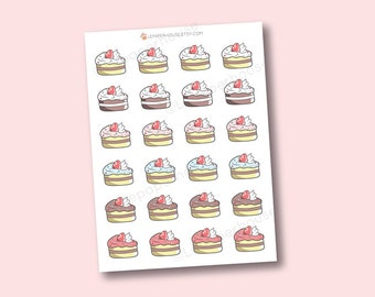 Kawaii Cake Stickers - cute planner stickers, Erin Condren stickers, Personal Planners, cooking