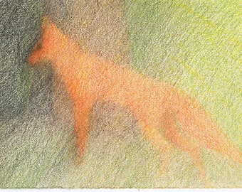 fox is heading to the thicket, original colored pencil forest drawing