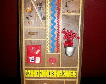Vintage Sewing Notions Plaque Sewing Room Wall Decor