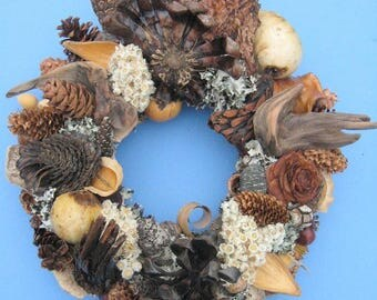 Pinecone and Dried Seed Pod and Driftwood Wreath or Candle Ring-PW76