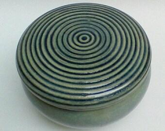 Light Blue Lidded  Ceramic Jewelry Box Carved  Lidded Jar Circular Design
