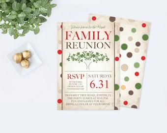Printable Family Reunion Invitations, Backyard BBQ Invitations, Housewarming Party Invitations, Family Picnic Invite, Party Invitation, Tree