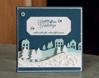 "Handmade Christmas Card - Stampin' Up Wonderful Winterland - 4.5"" x 4.5"" - Happy Holidays Houses & Trees"