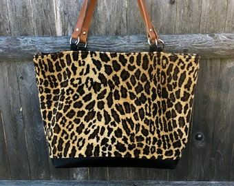 Soft leopard print tote, animal print tote, faux fur, upholstery leopard, leather handles, large tote, commuter tote, one of a kind