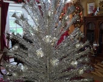 Mid Century 7 Foot SPARKLER Aluminum Christmas Tree 136 2ft long Pom Pom Branches