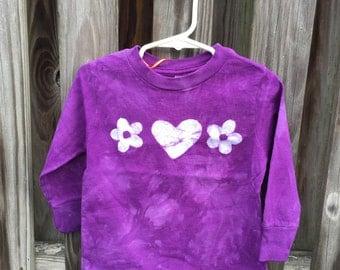 Purple Girls Shirt, Long Sleeve Girls Shirt, Batik Girls Shirt, Flower Girls Shirt, Toddler Girls Shirt, Girls Purple Shirt (2T)