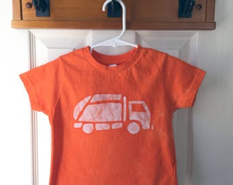 Garbage Truck Shirt, Kids Truck Shirt, Boys Garbage Truck Shirt, Orange Truck Shirt, Girls Truck Shirt, Boys Truck Shirt, Orange Shirt (2T)