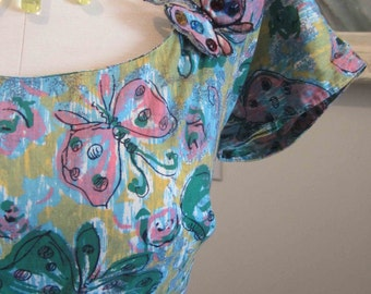 Vintage 50s Butterfly Novelty Print Dress w 3D Butterly Appliques