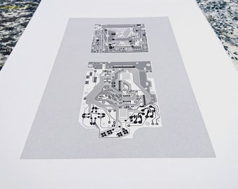 Nintendo Gameboy 1989 screen print monochrome black and grey art silkscreen circuit portrait retro computing