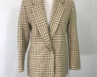 Vintage Pendleton Petite Tan Virgen Wool Herringbone Coat Jacket Blazer 8 10