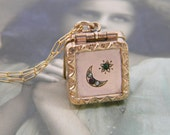Antique Moon and Star Locket Fob Necklace, Rose Gold Filled Locket, Celestial Locket, Crescent Moon Locket, Square Locket, Repousse Border