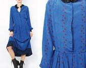 Vintage Zandra Rhodes Dress Blue Silk Shirt Dress 1980s Secretary Dress Designer Abstract Print Ruffle Collar Long Sleeve Shirtdress (M)
