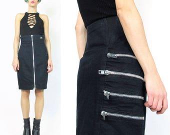 80s Zipper Skirt Punk Rocker Biker Babe Skirt Vintage Black Denim Mini Skirt Ultra High Waist Jean Skirt Zip Up Skirt Santana (S) E901