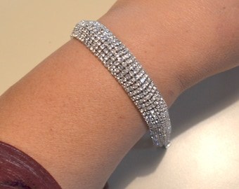Wide Crystal bracelet, bridal crystal bracelet, wedding jewelry, bridesmaids bracelet, prom bracelet, wide bracelet, sparkle bracelet, cuff