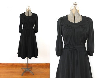 70s Black Dress / Black 1970s Grecian Disco Dress