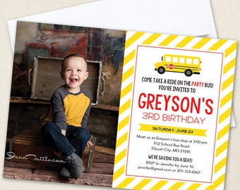 School Bus Party Photo Invitations (Large Photo) - Professionally printed *or* DIY printable