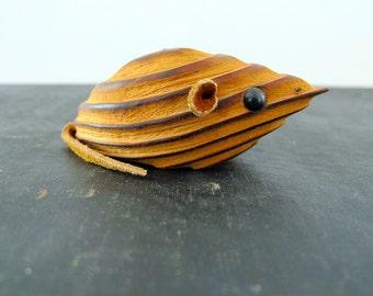Mouse Japanese Midcentury Weathered Cryptomeria Wood Leather Kay Bojesen Style 1970s