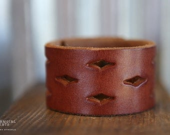 CUSTOM HANDSTAMPED CUFF - bracelet - personalized by Farmgirl Paints - brown leather cuff with cutouts