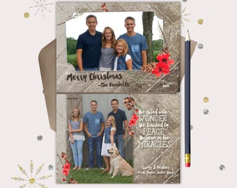 Christmas Cards · Rustic Wood & Pine 2 photo Christmas Card · Rustic Christmas Cards · Christian Christmas