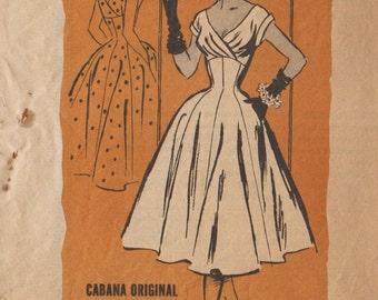 Prominent Designer A741 / Vintage 50s Sewing Pattern By Isabel Dobson / Cabana Original / Dress / Size 14 Bust 32