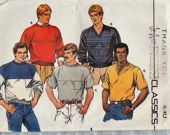 Butterick 6797 / Vintage Sewing Pattern For Men / Mans Shirt Sweater Pullover / Sizes L  XL