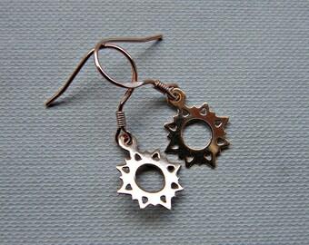 Rose gold sun earrings, gold sun jewelry, dainty earrings, rose gold vermeil earrings, petite gold earrings, dangle earrings, celestial