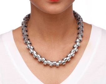 Silver Harmony Art deco necklace - Art deco style jewelry - Edgy jewelry - Edgy necklace - Innovative jewelry - Innovative necklace