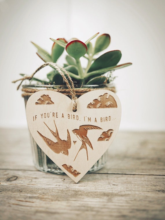 Love Birds - Etched Wooden Decoration