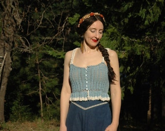 1970s Crochet Crop Top... Sheer Stretch... Perfect Cropped Length