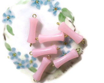 Shabby chic connectors, Vintage Lucite Connectors,Pink Tube,Brass Loops, Dog Bone Pink Dangle Cottage NOS Connector Shabby Chic Loops #537