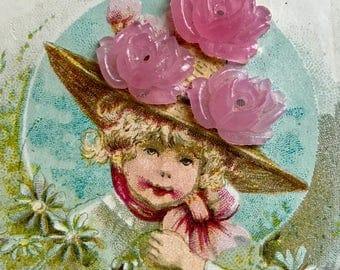Rose quartz cabochons, Shabby chic Roses, Vintage Pink Roses Glass Cabochons, Rose Cabochons, Carved Roses, Cabochons, 13mm #1682