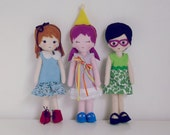 Felt Dolls Patterns PDF - 3 Dolls Sewing Tutorial - felt miniature hand sewn 3 PHOTO Tutorial - Instant DOWNLOAD