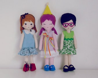 Felt Dolls Patterns PDF - 3 Dolls Sewing Tutorial - felt miniature hand sewn 3 PHOTO Tutorial - Instant DOWNLOAD