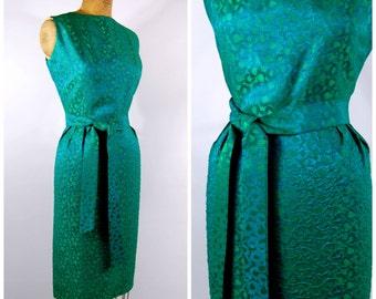 Late 1950s Early 1960s Green Brocade Wiggle Dress // Sheath Dress - Green and Blue