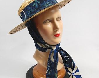 1950s Straw Hat attached Scarf - Blue Hawaiian Print Fabric // Scarf Hat // Tourist Hat Souvenir Tiki tropical Luau