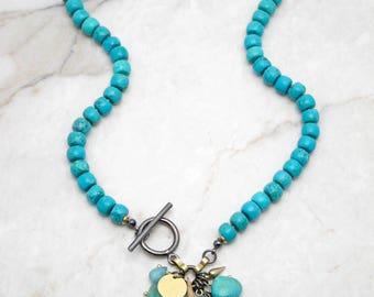 Boho Dangle Necklace. Chunky Turquoise Necklace. Boho Charm Necklace. Dangle Charm Necklace. Bold Turquoise. Multi Charm Necklace. ISLA